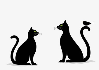 Stylized silhouette of black cats and bird
