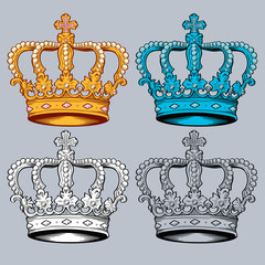 Crown vector clip art in 4 versions