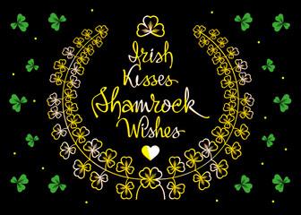 Vector  St. Patrick's greetings card with golden clovers on a black background.
