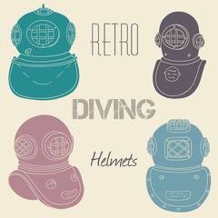 Vector retro diving helmets set