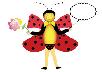 Symbolic summer ladybug. Vector cartoon beetle with flower and frame for your text.
