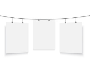 Isolated Vector Poster Mockup Set. Realistic Vector EPS10 Paper