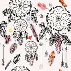 Vector background with hand drawn dream catcher in engraved styl