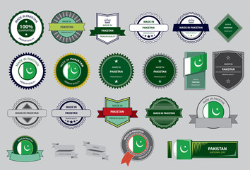 Made in Pakistan Seal, Pakistani Flag (Vector Art)
