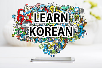 Learn Korean concept with smartphone
