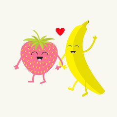 Banana and strawberry. Happy fruit set. Smiling face. Cartoon smiling character with eyes. Friends forever. Red heart. Isolated. Flat design.