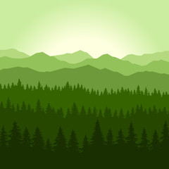 Green Fog Coniferous Forest and Mountains Background. Vector