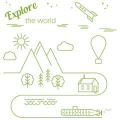 "Vector card ""Explore the world"" with linear landscape. Simple flat design, outline style. Infographic elements"