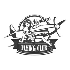 Airplane Club Vector Illustration Emblem, vector illustration