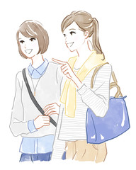 旅行する二人の女性