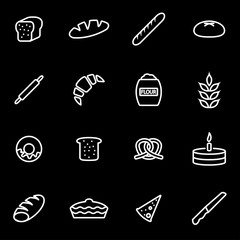 Vector line bakery icon set