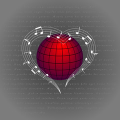 music like heart around the world. love melody around the planet