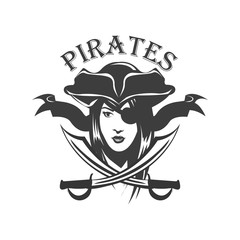 Pirate woman and crossed sabers badge, logo. Vector illustration