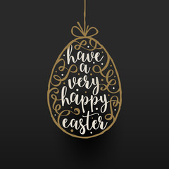 Hanging easter egg with calligraphic type design - Vector Easter greeting card