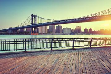 Manhattan Bridge Over East River at Sunset