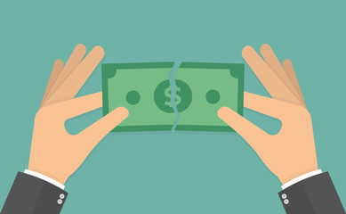 Hands tearing apart money bill in half. Vector illustration in flat style