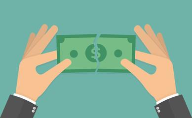 Hands tearing apart money bill in half. Vector illustration in flat style