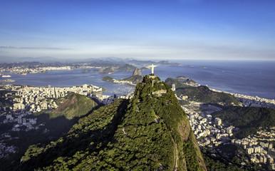 Aerial wide angle view of Rio de Janeiro and Botafogo Bay