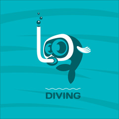 Diving. Fish diver mask with snorkel. Vector logo. 3