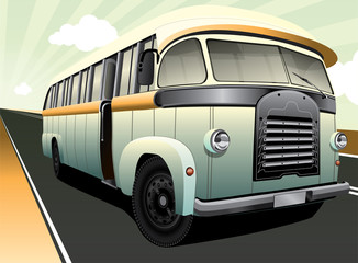 Digital illustration of a vintage bus in retro colours
