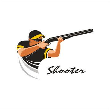 Shooter. Shooting from a gun on plates mark, logo. Vector Illust