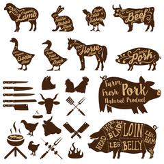 butcher tools. Farm animals. Fresh pork.