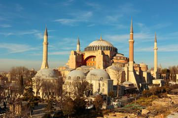 Hagia Sophia in Istanbul with nice blue sky