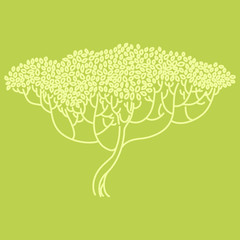 Stylized abstract tree illustration. Ecology and garden theme.