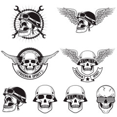 Freedom spirit. Set of skulls in biker helmets.