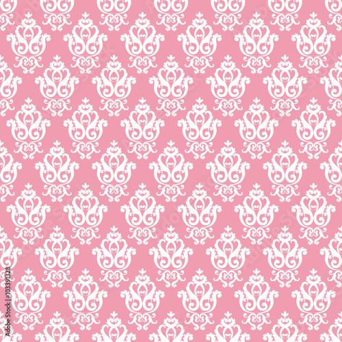 Seamless Damask Pattern. Pink Texture In Vintage Rich Royal Style. Vector  Illustration. Can