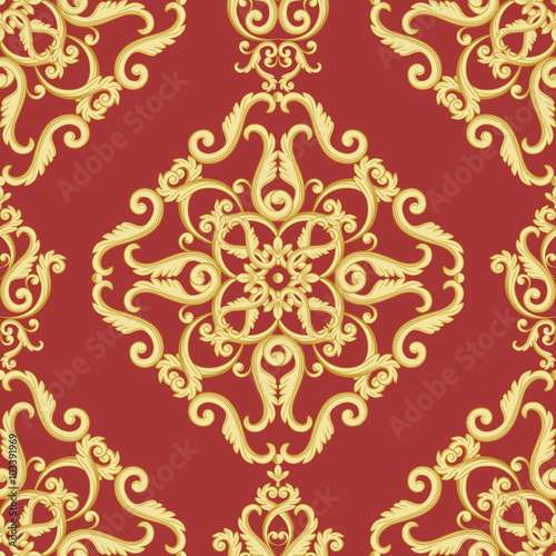 Gold And Red Texture In Vintage Rich Royal Style Vector Illustration