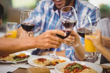 Family toasting glasses of wine