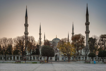Hippodrome. Blue Mosque (Sultan Ahmet Camii Mosque) in the Sultanahmet area of Istanbul in Turkey.