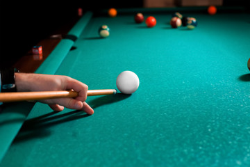 Close up photo fragment of the pool billiard game