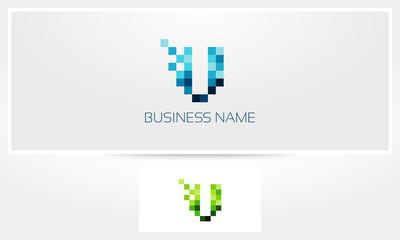 Letter V Pixel Eroded Logo