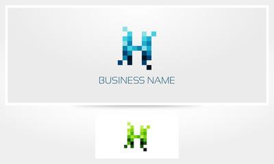 Letter H Pixel Eroded Logo