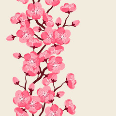 Japanese sakura seamless pattern with stylized flowers. Background made without clipping mask. Easy to use for backdrop, textile, wrapping paper