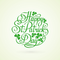 St.Patrick Day circle lettering on white background vector illus