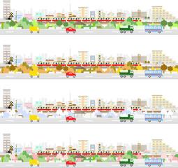 街の交通 四季