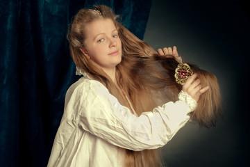 beautiful long hair blonde girl wearing  nightgown