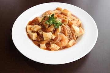 豆腐と海老の中華風あんかけご飯