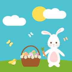 cute easter vector cartoon with lovely bunny rabbit bird and egg basket in the meadow
