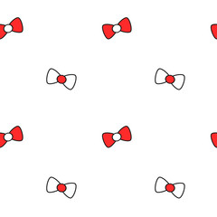 cute lovely black white red cartoon bow ribbon seamless vector pattern background illustration