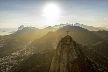 Rio de Janeiro, Brazil : Aerial view of sunset above mountains