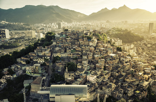 Rio de Janeiro, Brazil : Aerial view of Shanty Town on the hill