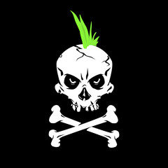 A vector illustration of a Punk Rock Skull. Human skill with crossbones and a green mohawk for Punk Music.