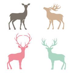 Various silhouettes of deer .