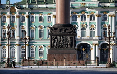 Alexander Column and Winter Palace in St. Petersburg