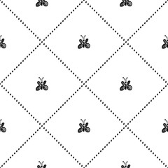 Seamless vector pattern, background with cute butterflies on the white backdrop. Hand sketch drawing. Imitation of ink pencilling. Series of Insects and Hand Drawn Patterns.