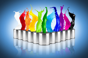 metal color dose row with colorful rainbow color splashes on blue background